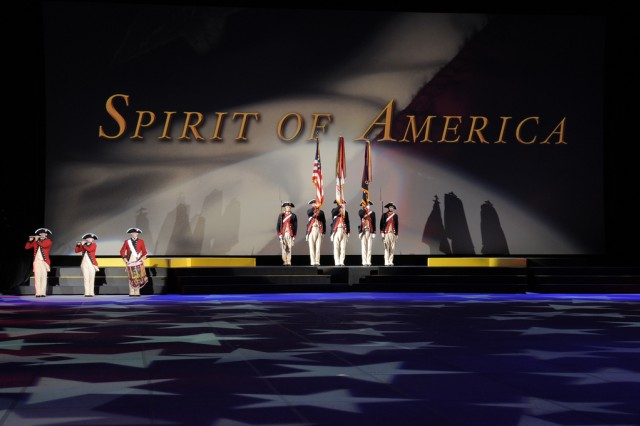 Soldiers from the 3rd U.S. Infantry Regiment (The Old Guard) perform during Spirit of America at CONSOL Energy Center in Pittsburgh, Pa.