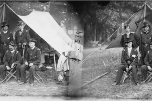 Cushing (back row center) and other Union officers on the Antietam Battlefield.