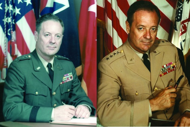 The official photo of Gen. Frank S. Besson Jr., left, shows AMC's first commanding general in a newer uniform with both the four-star and AMC flags. The photo on the right, thought to be taken in 1963, shows the general shortly after his promotion holding a pipe and wearing an older style uniform that dates back to the 1950s. Besson had the longest tenure of any AMC commander, leading the organization from 1962 to 1969.