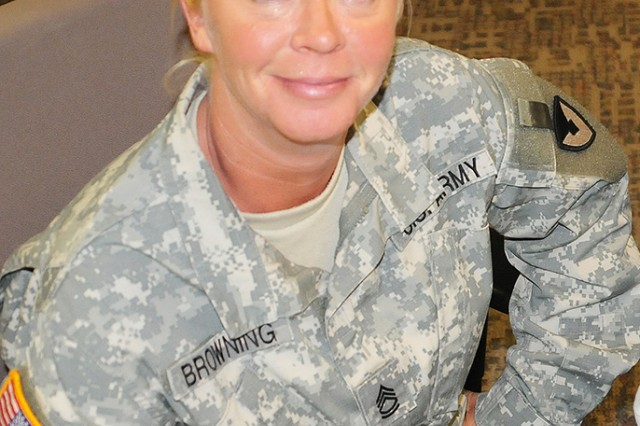 Sgt. 1st Class Melissa Browning has achieved her contracting certification requirements beyond that required by her grade. Browning is a contracting officer for the 634th Contingency Contracting Team at MICC-Fort Riley, Kansas.