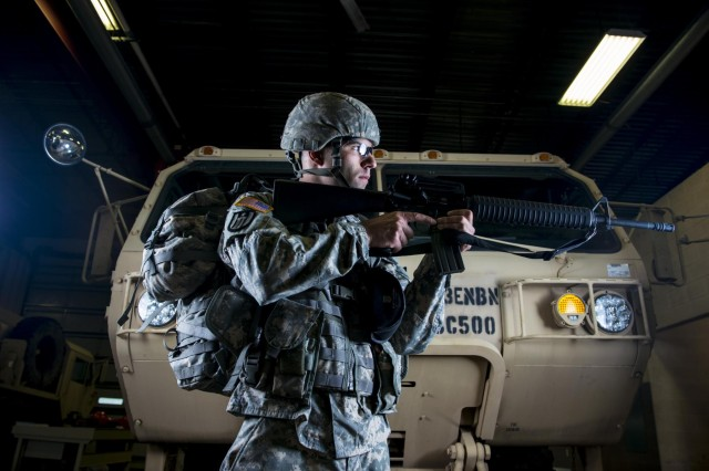 Spc. Kevin Thomas, Soldier with the 863rd Engineer Battalion, headquartered in Darien, Ill., poses for promotional Army Reserve portraits at the Parkhurst U.S. Army Reserve Center. (U.S. Army photo by Sgt. 1st Class Michel Sauret)