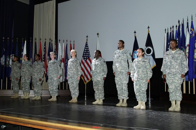 """A formation of troops was held during a """"Women's Equality Day"""" observance on Aug. 26 at the Camp Zama Community Activity Center."""