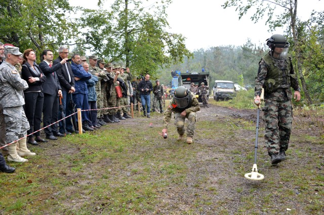 Distinguished visitors and members of the Slovenian press watch an explosive ordnance disposal demonstration during exercise Immediate Response 14 at Pocek, Slovenia, Aug. 27, 2014. The U.S. Navy and Slovenian E.O.D team demonstrated their marking techniques and ordnance diffusion capabilities for the visitors.