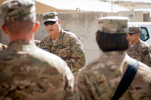 Chief of Staff of the Army Gen. Raymond T. Odierno talks to Soldiers serving in Afghanistan with the 1st Infantry Division's 4th Infantry Brigade Combat Team, Sept. 19, 2012.