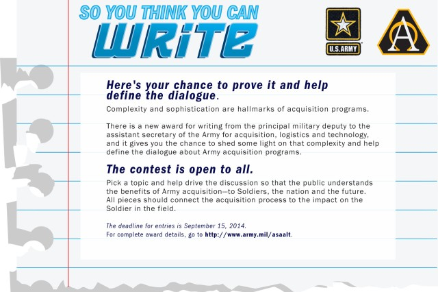 Lt. Gen. Michael E. Williamson, the principal military deputy to the Assistant Secretary of the Army for Acquisition, Logistics and Technology announced a writing competition today to encourage critical writing focused on Army acquisition issues.