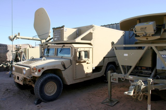 The Army is transitioning the sustainment strategy for WIN-I Increment 1 equipment, such as the joint network node (center) and satellite transportable terminals here, from worldwide contracted support centers to standard organic support back in the U.S.