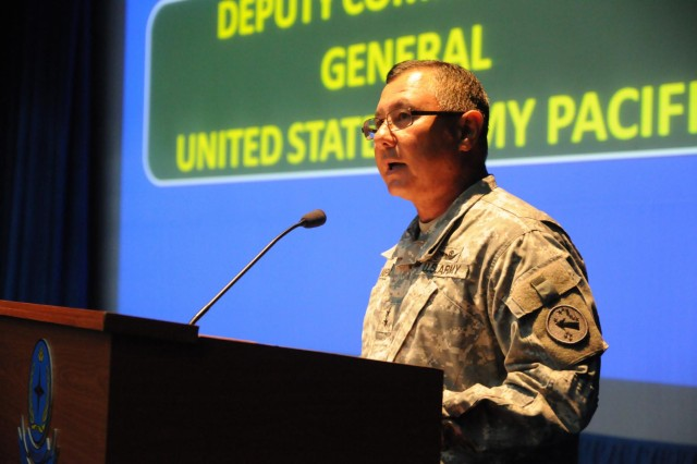 Maj. Gen. Gary M. Hara, U.S. Army Pacific's deputy commander general, addresses U.S. and Bangladesh Army soldiers during the opening ceremony for Aurora Monsoon Aug. 23, 2014, at the Bangladesh Institute of Peace Support Operation Training at the Rajendrapur Catonement Training Area, near Dhaka, Bangladesh. The U.S. Army was in Bangladesh for the bilateral exchange and training exercise, which focused on building relationships and enhancing abilities in operating in a jungle environment and unfamiliar terrain. (U.S. Army photo by Sgt. 1st Class Jeffrey Smith/Released)