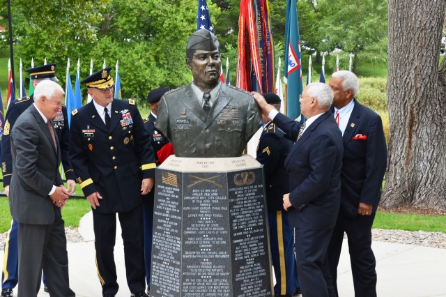 Former U.S. Secretary of State and former Chairman of the Joint Chiefs of Staff, retired Gen. Colin Powell received a place of honor on Fort Leavenworth's Circle of Firsts at the Buffalo Soldier Monument as his bust was unveiled Sep. 5.