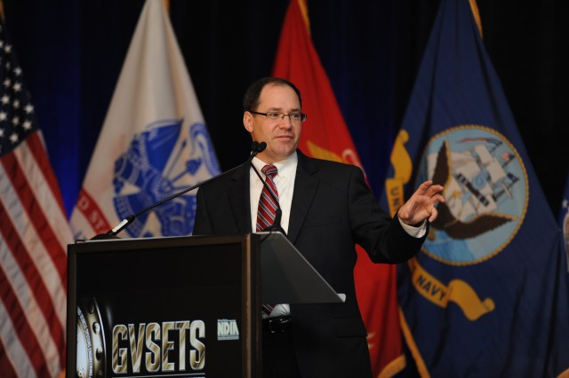 TARDEC Director Dr. Paul Rogers discusses the future of ground combat vehicles with more than 800 representatives from industry, academia and government during the 2014 GVSETS on Aug. 12.