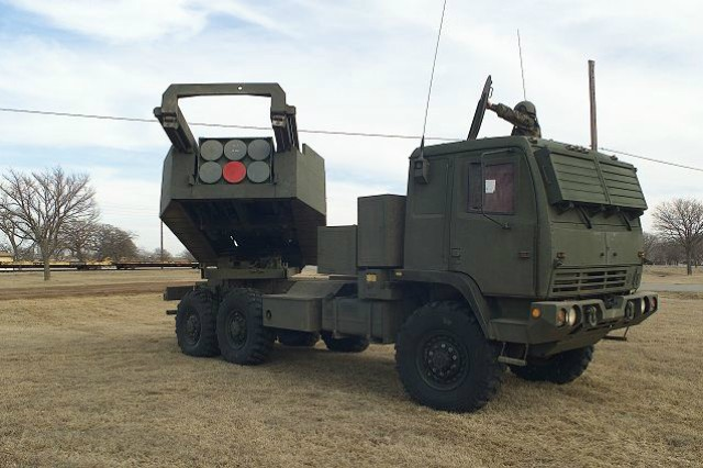 The 2nd Battalion, 300th Field Artillery Regiment, a National Guard unit based out of Casper and Lander, Wyoming, conducted its re-mission, from using M198 Howitzers, to the M142 High Mobility Artillery Rocket System, pictured here, which carries a single six-pack of rockets on the Army's family of medium tactical vehicles.