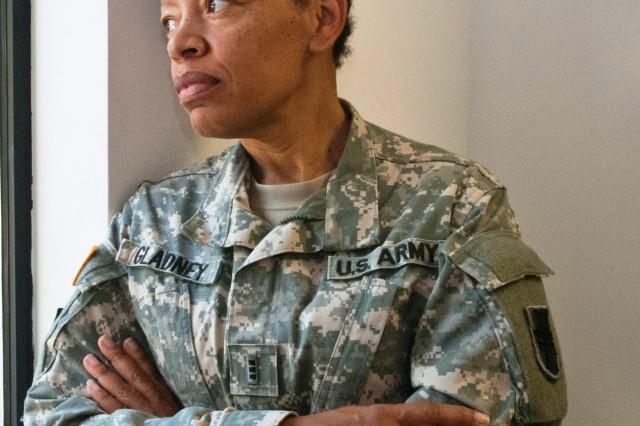 "VICKSBURG, Miss. -- Chief Warrant Officer 4 Destria Gladney, division transportation officer, 412th Theater Engineer Command, said of Sept. 11, 2001, ""It hurt because all I could think  about was the people we would have to get moving, get on the trains, planes and buses and get them out to support … It was huge, it was sad, but it made me think about being a Soldier."""