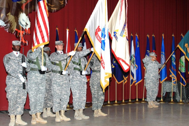 The 402nd AFSB Color Guard stands tall during the 402nd AFSB's assumption of responsibility ceremony July 30, at Camp Arifjan, Kuwait. (U.S. Army Photograph)