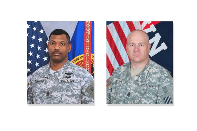 The U.S. Army announced that Command Sgt. Maj. James P. Snyder (right) will assume duties and responsibilities as the command sergeant major for the U.S. Army Research, Development and Engineering Command from outgoing Command Sgt. Maj. Lebert O. Beharie (left).