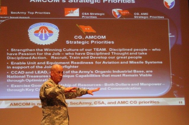 Maj. Gen. Jim Richardson, commander of the Aviation and Missile Command, makes a point about strategic priorities during his first town hall with the organization. Richardson introduced himself, outlined his priorities for AMCOM and thanked the workforce for their contributions to the war fighter during the Sept. 9 event in Bob Jones auditorium.