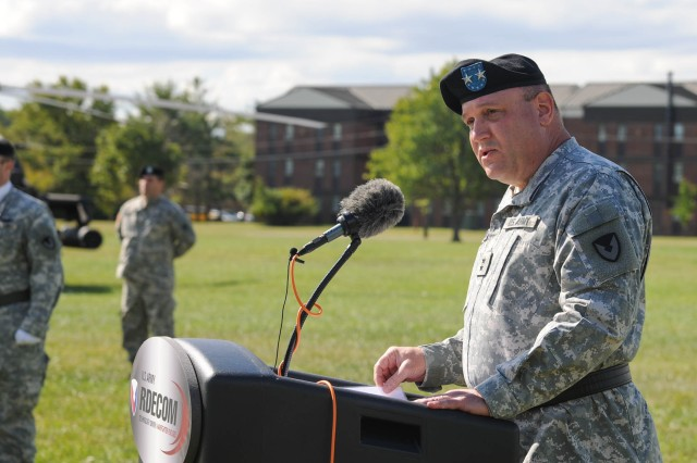 Maj. Gen. John F. Wharton, incoming commanding general of the U.S. Army Research, Development and Engineering Command, speaks during the assumption of command ceremony Sept. 22, 2014, at Aberdeen Proving Ground, Maryland.
