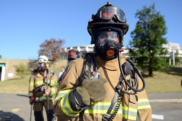 A District of Columbia first responder is seen during the Capital Shield 2015 exercise, in which local and federal authorities staged a response to a mock mass casualty event, at Robert F. Kennedy Memorial Stadium, Washington, D.C., Sept. 23, 2014.