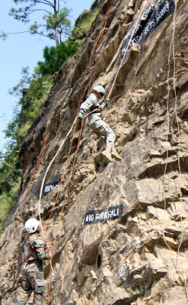 U.S. Soldiers rock climb in Himalayas