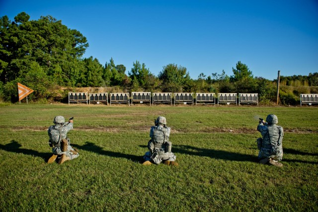 Soldiers compete in the pistol match Sept. 24 during the inaugural Army Reserve Small Arms Championship hosted at Camp Robinson, Ark. Approximately 70 Soldiers, making up 14 teams, came from all over the country to compete. (U.S. Army photo by Sgt. 1st Class Michel Sauret)