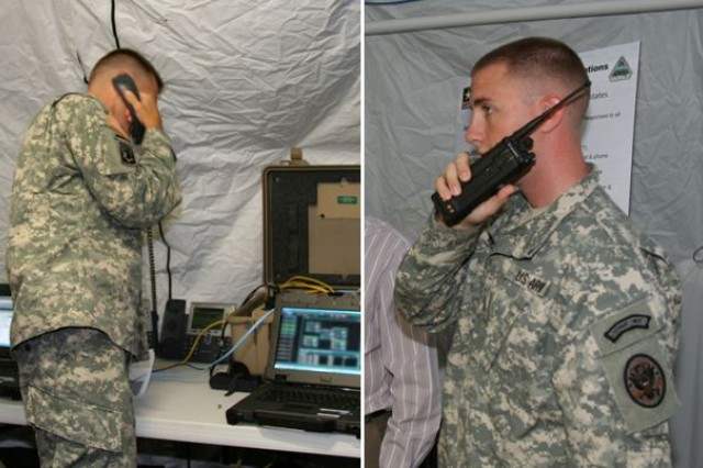 The Disaster Incident Response Emergency Communications Terminal's (DIRECT) radio-bridging and voice cross-banding capability enables Soldiers to combine radio and phone networks as they did during this demonstration with the Delaware National Guard, in September 2014, at the Smyrna Readiness Center, Smyrna, Del.