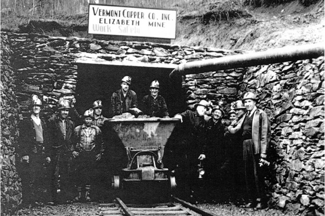 The Elizabeth Mine on its last day of operation in 1958.