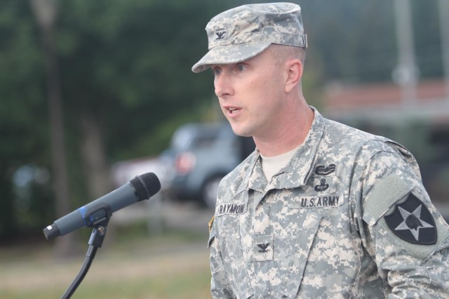 Col. Philip Raymond, commander, 2nd Infantry Division Artillery, welcomes guests at a ceremony to activate his unit Sept. 25 at Joint Base Lewis-McChord. The 2nd Infantry DIVARTY will pick up the responsibility for training and developing field artillery units on JBLM and two battalions in Alaska.