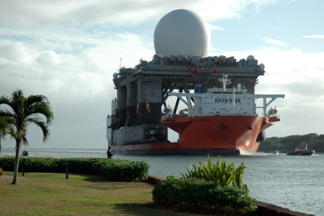 Over the past decade, the Ground-based Midcourse Defense system has undergone significant upgrades to enhance its capabilities. The sea-based X-Band radar, seen here being transported to Pearl Harbor, Hawaii in January 2006, greatly increased the fidelity and coverage of the system allowing it to intercept intercontinental ballistic missiles. (Stock Photo provided by the Missile Defense Agency)