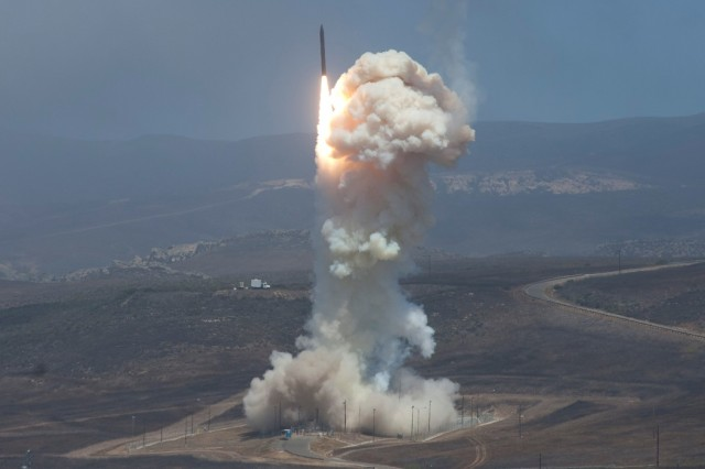 For the last decade, missile crews and liaison officers from the 100th Missile Defense Brigade, 49th Missile Defense Battalion (Ground-based Midcourse Defense) and Detachment 1, Vandenberg Air Force Base have actively participated with the Missile Defense Agency in ongoing research, development, test and evaluation such as this recent flight test in June of 2014. From software upgrades to end-to-end flight tests, Soldiers from the 100th Brigade are an integral part of the system's RDT&E with its concurrent operation. (Stock Photo provided by the Missile Defense Agency)