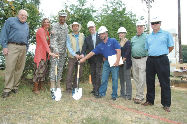 (From left) Directorate of Public Works Canal Creek Treatment Plant Project Manager Jeff Aichroth, DPW Installation Energy Manager Devon Rust, APG Garrison Commander Col. Gregory McClinton, DPW Natural Resources Branch Acting Chief John Wrobel and Johnson Controls contractors  Dennis Wiseman, Vincent Cowger, Heather Everly, James Hewes and Barry Fahr break ground on a new Net Zero water conservation project near the Canal Creek Aquifer Groundwater Treatment Facility on APG South (Edgewood) Sept. 29.