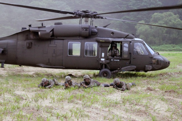 The 2nd Combat Aviation Brigade conducts a joint air assault exercise with 2nd Battalion, 9th Infantry Regiment, 2nd Infantry Division August 2, 2013. Soldiers from the Republic of Korea's 2nd Battalion, 100th Regiment, 17th Division trained alongside their U.S. counterparts during the exercise.