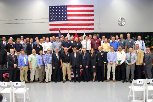 The DOD recognized 45 U.S. Army Civilians for their efforts to destroy Syria's declared chemical weapons stockpile, at an awards ceremony at Aberdeen Proving Ground, Md., Oct. 8, 2014.