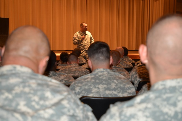 Sgt. Maj. Patrick Hickok, the 32nd Air and Missile Defense Command Career Counselor speaks with Soldiers from the 31st Air Defense Artillery Brigade at Snow Hall, Fort Sill, Okla.  Sgt. Maj. Hickok provided tips and pointers on how to stand out amongst your peers and gave information about how to continue serving in the military after leaving the Army.