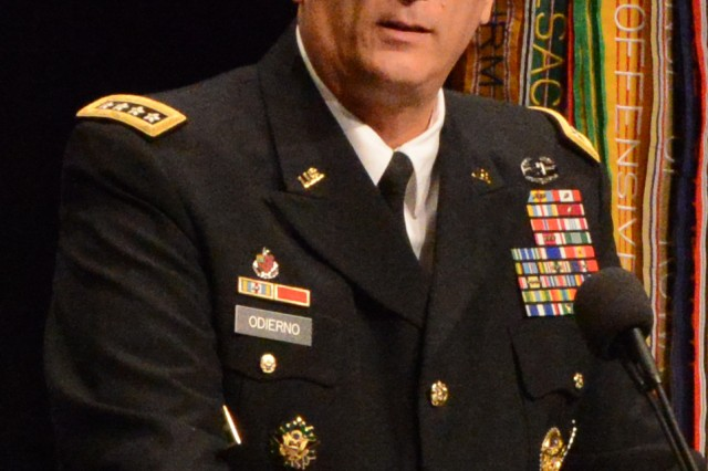 """Army Chief of Staff Gen. Ray Odierno, keynote speaker at the Dwight David Eisenhower luncheon, Oct. 14, 2014, at the Association of the United States Army Annual Meeting and Exposition, held at the Walter E. Washington Convention Center, in Washington, D.C., discussed the meaning of this year's AUSA slogan: """"Trusted Professionals -- Today and Tomorrow."""""""