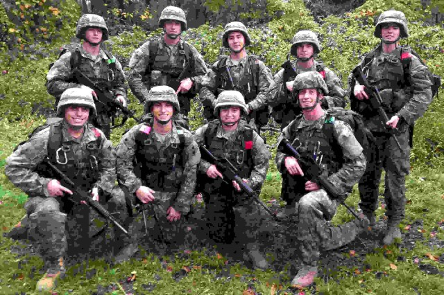 Penn State Ranger Challenge Team (front from left) Cadets Matthew Wolfel, Charles Davis, Erin Hesse, Jacob Boyle, (rear from left) Timothy Olson, Jordan Forman, John Graham, Andrew Fletcher and Nathan Vatacco at the Commander's Challenge, during the 2nd Brigade's 2014 Ranger Challenge held at Joint Base McGuire-Dix Lakehurst, New Jersey, Oct. 11-12. Penn State was the overall winning school at the event and will represent 2nd Brigade at the Sandhurst Military Skills Competition in April at the U.S. Military Academy at West Point.