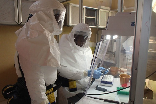 FILE PHOTO: Soldiers currently working at the Aberdeen Proving Ground, Maryland-based 1st Area Medical Laboratory, will soon leave to set up laboratories to support Operation United Assistance, the U.S. response to the Ebola outbreak in West Africa.