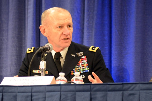 Lt. Gen. Edward Cardon, commander, U.S. Army Cyber Command, speaks to an audience about the emerging cyberspace capabilities of the Army at the Association of the United States Army's Annual Meeting and Exposition, Oct. 15. He spoke earlier to reporters at an AUSA press conference, Oct. 13, 2014.
