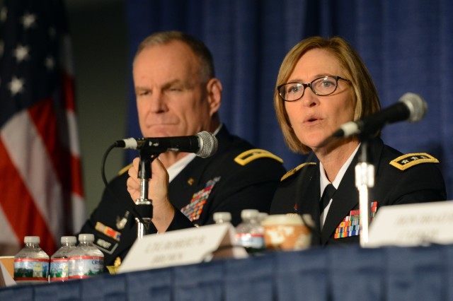 Lt. Gen. Patricia D. Horoho, Army surgeon general and commanding general, Army Medical Command, speaks on a panel about the human dimension, at the Association of the United States Army's Annual Meeting and Exposition, Washington, D.C., Oct. 15, 2014.