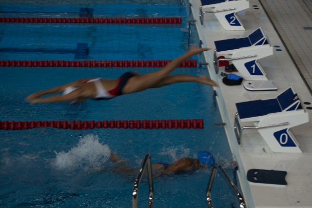 U.S. Army Sgt. Kawaiola Nahale, Warrior Transition Battalion, Schofield Barracks, Hawaii, swims a preliminary race during the 2014 Warrior Games at the U.S. Olympic Training Center in Colorado Springs, Colo., Sept. 30, 2014. More than 200 wounded, ill and injured service members and Veterans participated in the 2014 Warrior Games, an annual event featuring Paralympic-style competitions. (U.S. Army photo by Spc. Ronda Robb/ Released)