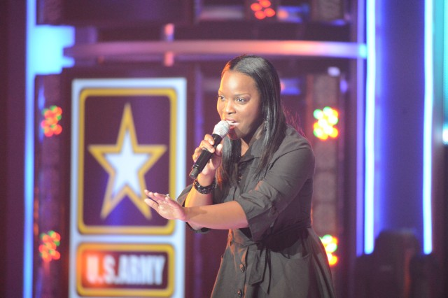 Capt. Jacqueline Allen sings her way to third place in the 2012 Operation Rising Star military singing contest at the historic Fort Sam Houston Theatre on Joint Base San Antonio-Fort Sam Houston, Texas.