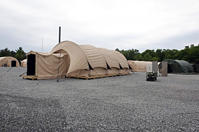 Shown is the inside of a Force Provider Module. Army Sustainment Command's Army Prepositioned Stocks program is sending 25 of these modules to West Africa, in support of Operation United Assistance.