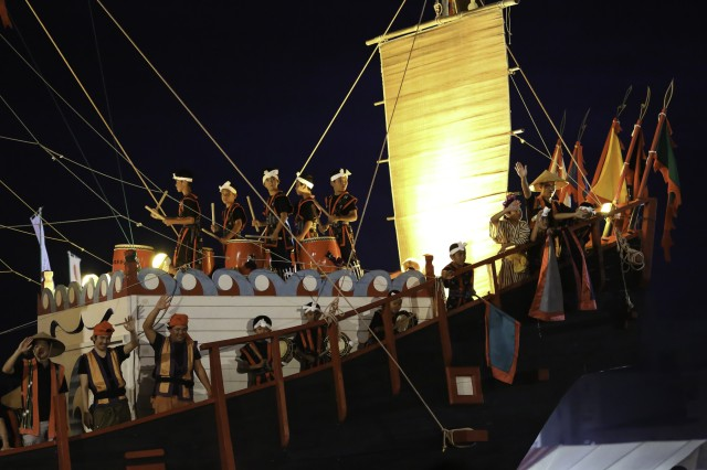 "The festival featured a bounty of food, fun, fireworks and more while culminating in ""The Play of Taki,"" in which a large trading ship or ""Shinkosen"" navigated through the crowd representing a successful sea voyage."