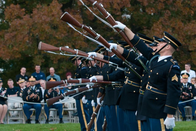 "U.S. Army Drill Team, 3d U.S. Infantry Regiment(The Old Guard) performed during Twilight Tattoo ""Salute to the Chief ""on Whipple Field, Joint Base Myer Henderson-Hall, Va., Oct. 30, 2014. Gen. Raymond T. Odierno, chief of Staff of the Army, recognized five American's for their contributions and service to the U. S. Army Soldiers, veterans, and families.(U.S. Army photo by Spc. Cody Torkelson)"