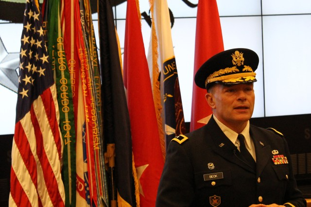 Maj. Gen.  Gill P. Beck addresses attendees at a Change of Command ceremony where he relinquished command of the 81st Regional Support Command on November 2, 2014 at Fort Jackson, S.C.  Maj. Gen. Beck thanked the many guests who attended the ceremony for their support or mentorship throughout his tenure as commander and his military career. He paid special tribute to his wife by inviting her to renew their vows in front of the crowd. U.S. Army photo by Staff Sgt. Toshiko Gregg, 81st Regional Support Command Public Affairs.