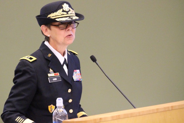 Maj. Gen.  Janet L. Cobb commander of 81st Regional Support Command addresses attendees at a Change of Command ceremony where she took command of the 81st Regional Support Command on November 2, 2014 at Fort Jackson, S.C. Maj. Gen. Cobb joins the 81st RSC from her last assignment as Assistant Deputy Chief of Staff, G-4, Mobilization and Training (IMA), Office of the Deputy Chief of Staff, G4 (Washington, D.C.). Her past assignments include battalion commander of the 1184th Transportation Terminal Battalion which operated the Port of Ash Shuaybah, Kuwait from November of 2002 through May of 2003. She also held joint assignments including Director, Central Command Deployment and Distribution Operations Center (Camp Arifjan, Kuwait) and Commander, 598th Transportation Group (Terminal)(Rotterdam, the Netherlands). . U.S. Army photo by Staff Sgt. Toshiko Gregg, 81st Regional Support Command Public Affairs.