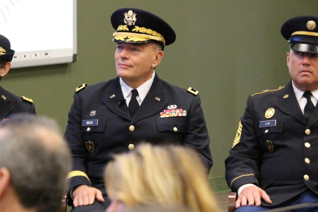 Maj. Gen. Janet L. Cobb, Maj. Gen. Gill P. Beck and Command Sgt. Maj. Ronald G. Law of the 81st Regional Support Command during a Change of Command ceremony where Maj. Gen. Beck relinquished command of the 81st RSC to Maj. Gen. Cobb. The ceremony was held at Fort Jackson, S.C. on November 2, 2014. U.S.