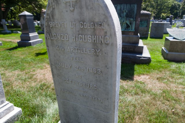 Alonzo Cushing's gravestone at West Point Cemetery, N.Y.