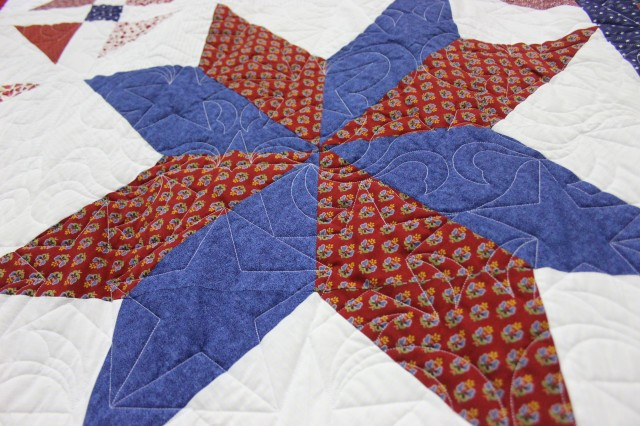 Many of the quilts to be given to veterans through the Quilts of Valor feature a star design, such as this red and blue star.