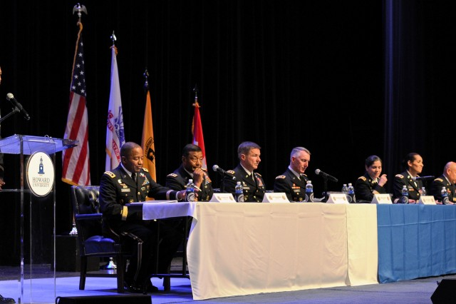 Lt. Col. Crede Lyons, military science professor at Howard University, introduces eight Army senior leaders at an Reserve Officer Training Corps professional development forum.