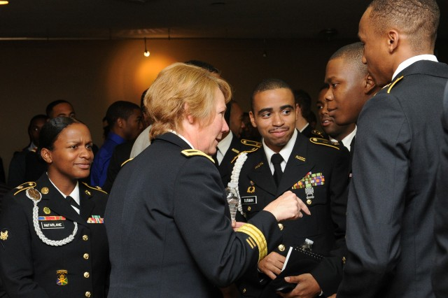Brig. Gen. Peggy Combs, commanding general of U.S. Army Cadet Command, meets with Reserve Officer Training Corps Cadets.