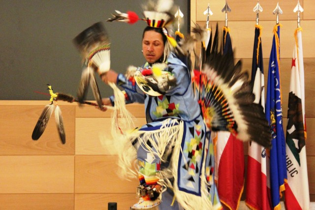 William Jones performs a Piscataway Indian Nation dance during the Native American Indian Heritage Month Ceremony on Aberdeen Proving Ground, Md., Nov. 13, 2014.
