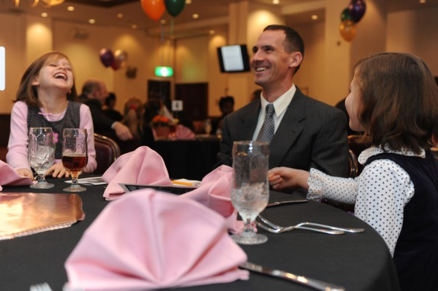 "The first ""Father-Daughter Date Night"" was held Nov. 15 hosted by the Camp Zama Protestant and Gospel Chapels at the Camp Zama Community Club. Forty daughters and 28 fathers attended the event, which included dinner, dessert, dancing and games. (U.S. Army photos by Noriko Kudo)"